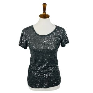 DKNY Gray Sequined T M